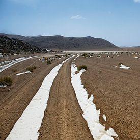 Sneeuw bedekt spoor in Farallon de Tara, Atacama-woestijn, Bolivia van Tjeerd Kruse