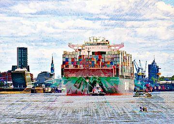 Containerschip bij de uitgang van Leopold Brix