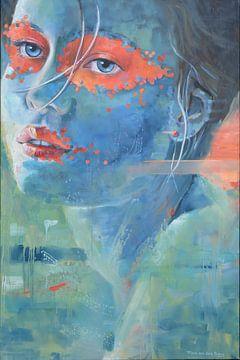 Blaue Dame mit orangefarbener Maske von VDB schildersatelier