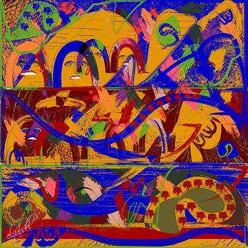 de vrouw in digitale geometrische abstracte kunst van EL QOCH