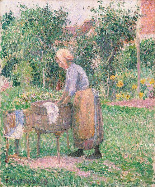 A Washerwoman bei Éragny, Camille Pissarro von Meesterlijcke Meesters