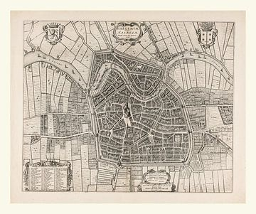 Oude kaart van Haarlem uit ca 1657, met wit kader van Gert Hilbink