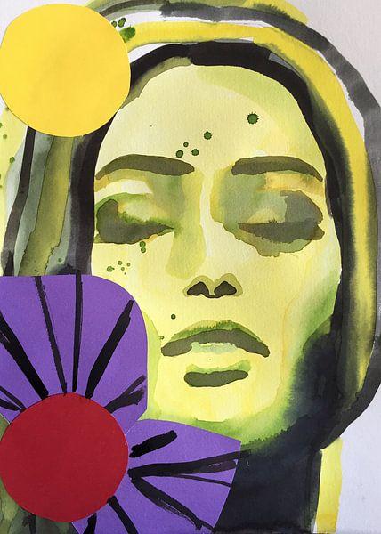 Lila Blumenmädchen von Helia Tayebi Art