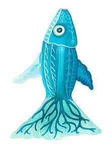 Blauwe vis van Edith van Zutven