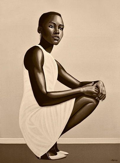 Lupita Nyong'o Schilderij van Paul Meijering