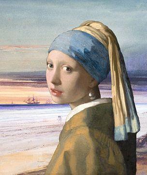 Das Mädchen mit dem Perlenohrring am Meer von Eigenwijze Fotografie
