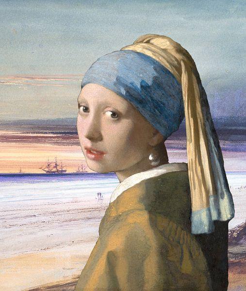 La fille à la perle au bord de la mer sur Eigenwijze Fotografie