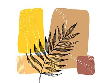Strichzeichnung Schwarze Blätter auf erdigen Farben. von WatercolorWall
