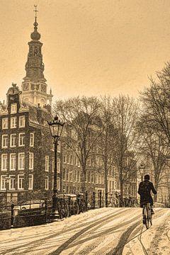 Zuiderkerk Sepia Amsterdam Winter von Hendrik-Jan Kornelis