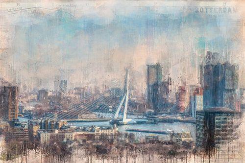 Rotterdam geverfde Erasmusbrug