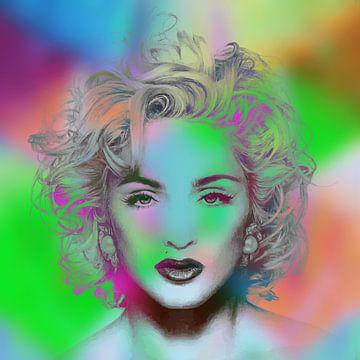 Madonna Vogue Abstrakt Porträt Grün Orange von Art By Dominic