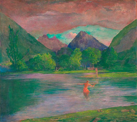 De ingang van de Tautira rivier, Tahiti. Visser Spearing a Fish, John LaFarge
