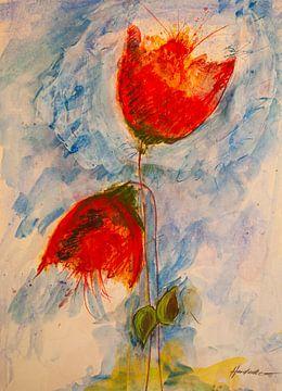 Twee rode klaprozen aan de blauwe hemel van Klaus Heidecker