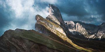 Dolomieten Seceda met Furchetta en kleine Fermeda van Jean Claude Castor