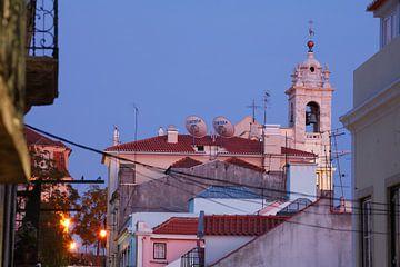 Igreja da Rua das Chagas in der Abendd�mmerung im Bairro Alto, Lissabon, Portugal