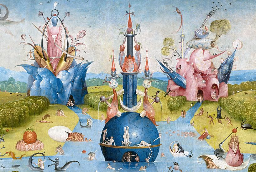 Jeroen Bosch. Tuin der Lusten - detail, 1490 van 1000 Schilderijen