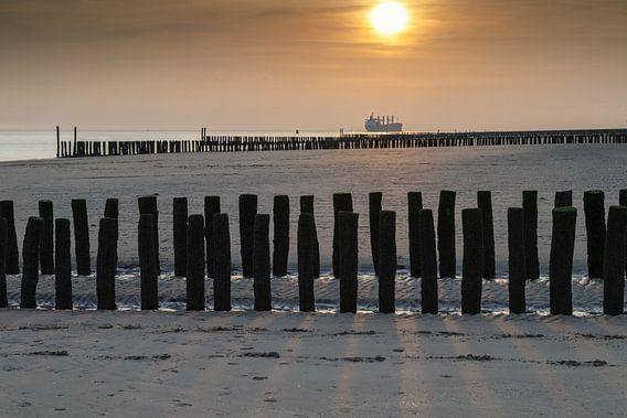 Zoutelande zonsondergang van Menno Schaefer