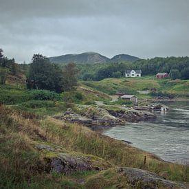 Heuvellandschap met meer en huizen in Noorwegen van Jille Zuidema