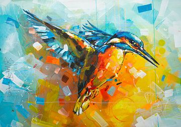ijsvogel schilderij van Jos Hoppenbrouwers