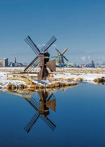 De molens van de Kalverpolder, Zaandam,  Noord-Holland
