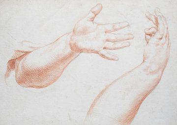 Alte Hand- und Armstudie in verschiedenen Positionen in Rötel auf Papier von Henk Vrieselaar