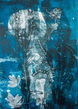 Botanische Pflanzen drucken Blau von Angela Peters