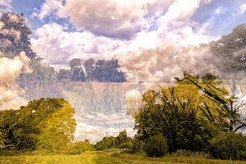 Utrecht Landschaft (Doppelbelichtung) von Tot Kijk Fotografie: natuur aan de muur