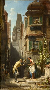 Carl Spitzweg, De eeuwige bruidegom (Bern in Zwitserland) - 1858 - 1860 van Atelier Liesjes