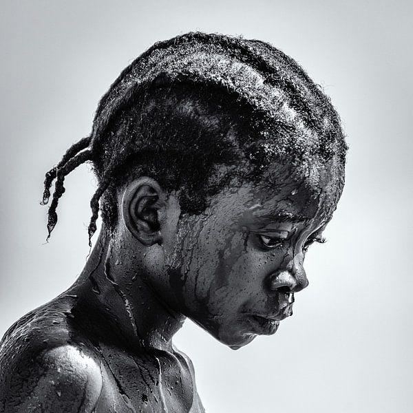 Portret van meisje in Malawi van Ipo Reinhold