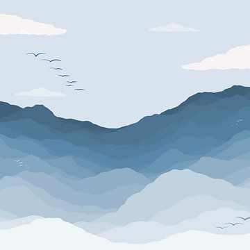Bergblick mit Vögeln - Blaue Illustration von Studio Hinte
