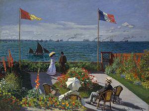 Garden at Sainte-Adresse, Claude Monet van Meesterlijcke Meesters
