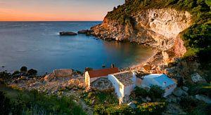 Kleine Vissershuisjes aan de Cala Llebeig Costa Blanca Spanje van