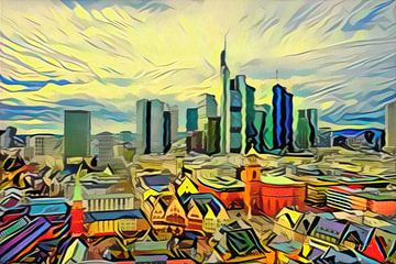 Kleurrijk kunstwerk Frankfurt: Skyline Frankfurt met vakwerkhuisjes