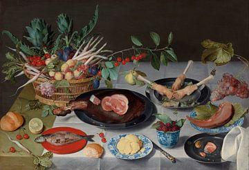 Stilleben mit Fleisch, Fisch, Gemüse und Obst, Jacob van Hulsdonck