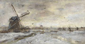 Landschaft mit Mühle im Schnee, Jacob Maris