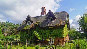 Met lianen bedekt huis op het pad in Suffolk