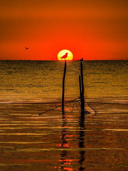 IJsselmeer zonsondergang van Harrie Muis