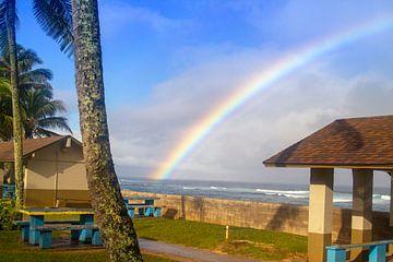 Regenboog over Hawaii van Sylvia de Strandjutter