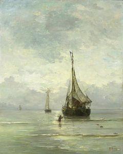 Schilderij Kalme zee van kunstenaar Mesdag | Schepen schilderijen van