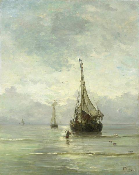 Schilderij Kalme zee van kunstenaar Mesdag | Schepen schilderijen van Schilderijen Nu