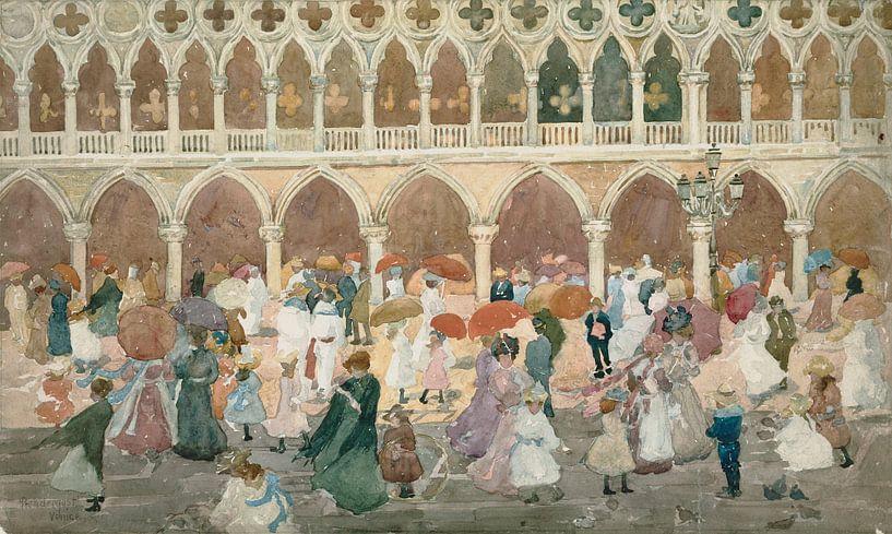 Maurice Prendergast~Sonnenlicht auf der Piazzetta von finemasterpiece