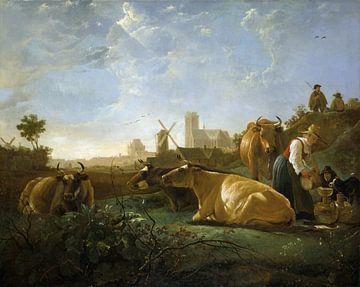 Aelbert Cuyp, Een vergezicht van Dordrecht, met een melkmeisje en vier koeien en andere figuren - 16