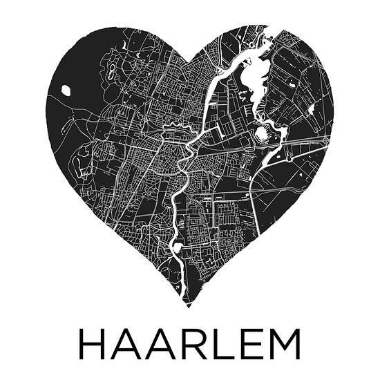 Liefde voor Haarlem ZwartWit  |  Stadskaart in een hart