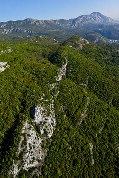 Bergklippe inmitten des Waldes. über ihn fliegen. Landschaft darunter (Luftbild aus einem Gleitschir von Michael Semenov