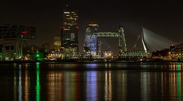 Nachtfoto van De Hef en de Erasmusbrug ... van Bert - Photostreamkatwijk
