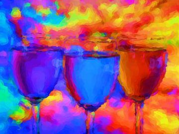Stilleven drie wijnglazen van Maurice Dawson