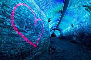 Verlichte tunnel Ganzenmarkt Utrecht van