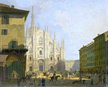 Giovanni Migliara, Ansicht der Piazza del Duomo, Mailand - 1819 - 1828 von Atelier Liesjes