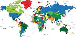 Carte du monde en couleur avec tous les pays