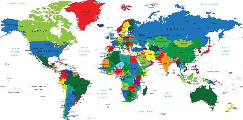 Carte du monde en couleur avec tous les pays sur Atelier Liesjes
